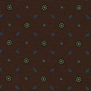 Sky Blue, Blue & Yellow on Chocolate Macclesfield Print Silk Tie #MCT-415