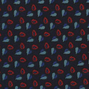 Sky Blue, Blue & Red on Midnight Blue Macclesfield Print Silk Tie #MCT-418