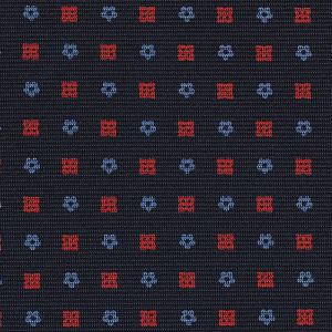 Sky Blue & Red on Midnight Blue Macclesfield Print Silk Tie #MCT-429