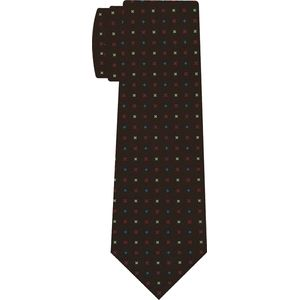 Sky Blue, Red & Off-White on Chocolate Macclesfield Print Silk Tie #MCT-433