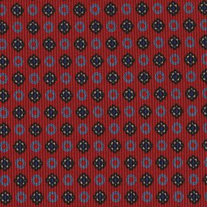 Sky Blue, Blue & Off-White on Dark Red Macclesfield Print Silk Tie #MCT-434