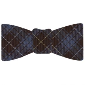 Bruce of Scotland Tartan Silk Bow Tie #TABT-5  Sky Blue, White & Light Yellow on Dark Chocolate