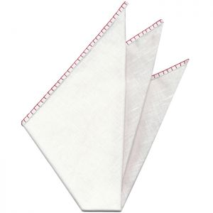 Belgian White Linen Pocket Squares with Bright Red Hand Sewn Decorative Flat Edges