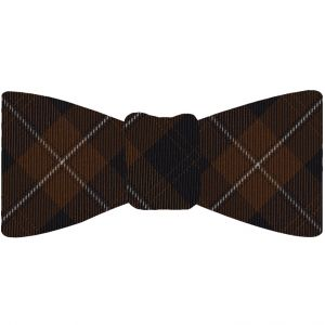 Cunningham Tartan Silk Bow Tie #TABT-7  Dark Navy Blue, White & Chocolate