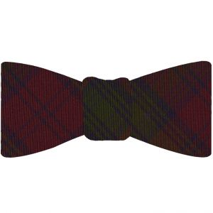 Lindsay Tartan Silk Bow Tie #TABT-8  Dark Navy Blue, Forest Green & Burgundy