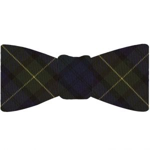 Forbes Tartan Silk Bow Tie #TABT-9  Dark Navy Blue, Black, Light Yellow & Forest Green