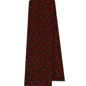 Orange, Sky Blue, Green & Light Yellow on Red Paisley Pattern Challis Wool Scarf #CHPSC-9
