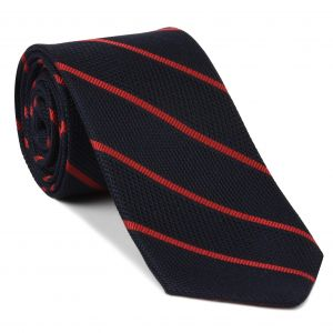 Red on Midnight Blue Grenadine Fina Reppe Stripe Silk Tie #GFRST-3