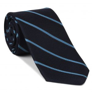 Sky Blue on Midnight Blue Grenadine Fina Reppe Stripe Silk Tie #GFRST-4