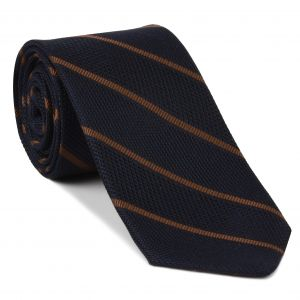 Chocolate on Midnight Blue Grenadine Fina Reppe Stripe Silk Tie #GFRST-5
