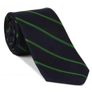 Bottle Green on Midnight Blue Grenadine Fina Reppe Stripe Silk Tie #GFRST-6