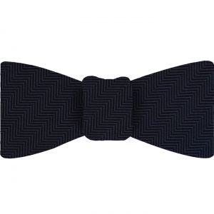 Dark Navy Blue Herringbone Silk Bow Tie #HBBT-1
