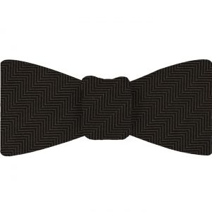 Bitter Chocolate Herringbone Silk Bow Tie #HBBT-4