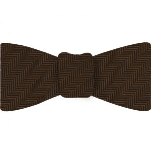 Chocolate Herringbone Silk Bow Tie #HBBT-5