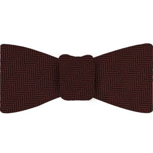 Dark Red Herringbone Silk Bow Tie #HBBT-7