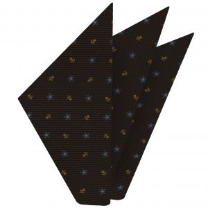 Sky Blue & Light Orange on Bitter Chocolate Macclesfield Print Silk Pocket Square #MCP-197