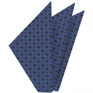 Red, Black & Brown on Slate Blue Macclesfield Print Silk Pocket Square #MCP-245