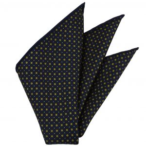 Yellow Gold, Blue & White on Midnight Blue Macclesfield Print Silk Pocket Square #MCP-249