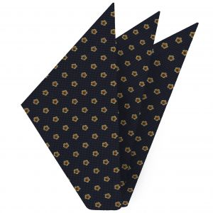 Sky Blue, Light Yellow & Mandarin on Midnight Blue Macclesfield Print Silk Pocket Square #MCP-259