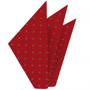 Sky Blue, Blue & Yellow Gold on Red Macclesfield Print Silk Pocket Square #MCP-285