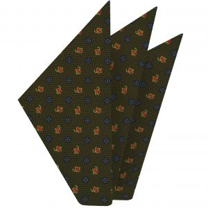 Sky Blue, Red, Gold & Light Yellow on Olive Green Macclesfield Print Silk Pocket Square #MCP-293