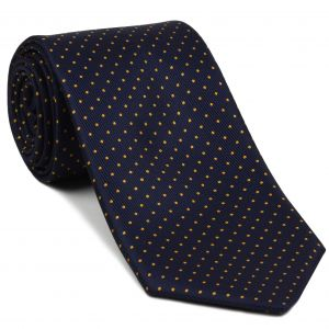 Orange on Midnight Blue Macclesfield Print Silk Tie #MCPDT-6