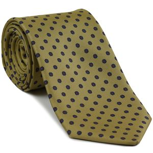 Blue & Mandarin on Khaki Macclesfield Print Silk Tie #MCT-347
