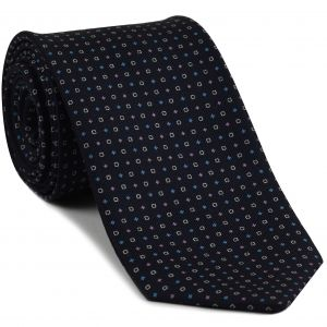 Sky Blue, Pale Pink & White on Dark Navy Blue Macclesfield Print Silk Tie #MCT-352