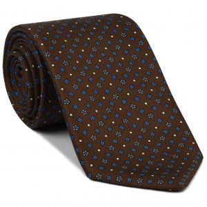 Powder Blue, Off-White &Red on Chocolate Macclesfield Print Silk Tie #MCT-353