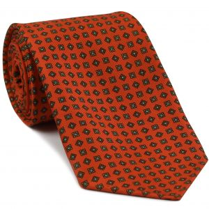 Sage, Dark Gold & Off-White on Reddish Orange Macclesfield Print Silk Tie #MCT-358