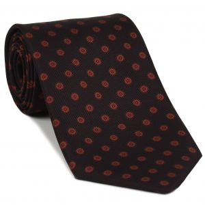 Red Brick & Black on Dark Burgundy Macclesfield Print Silk Tie #MCT-361