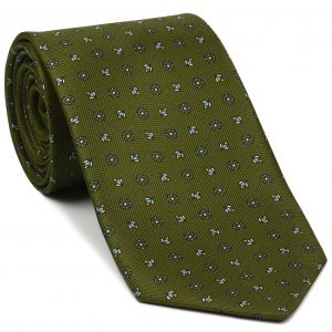 Sky Blue, Yellow Gold & Off-White on Olive Green Macclesfield Print Silk Tie #MCT-362