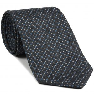 Sky Blue & Off-White on Dark Charcoal Gray Macclesfield Print Silk Tie #MCT-370
