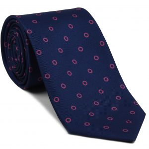 Fuchsia on Dark Navy Blue Macclesfield Print Silk Tie #MCT-373
