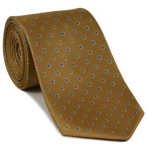 Olive Green & Lavender on Dark Sienna Macclesfield Print Silk Tie #MCT-389