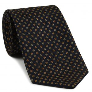 Sky Blue, Gold & Red on Midnight Blue Macclesfield Print Silk Tie #MCT-392