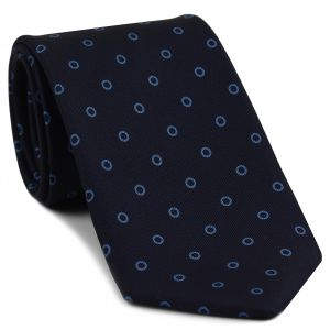 Sky Blue on Midnight blue Macclesfield Print Silk Tie #MCT-396