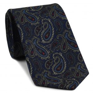 Sky Blue, Off-White & Red on Dark Navy Blue Macclesfield Print Silk Tie #MCT-399