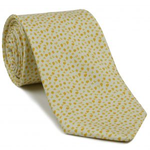 Mandarin Orange on Off-White Macclesfield Print Silk Tie #MCT-411