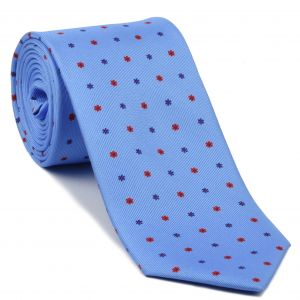 Red & Royal Blue on Sky Blue Macclesfield Print Silk Tie #MCT-413