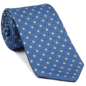 Blue & Off-White on Slate Blue Macclesfield Print Silk Tie #MCT-414