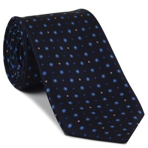 Sky Blue, Blue, White & Soft Pink on Midnight Blue Macclesfield Print Silk Tie #MCT-420