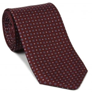 Sky Blue & Pink on Dark Red Macclesfield Print Silk Tie #MCT-423
