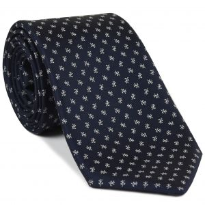 White on Midnight Blue Macclesfield Print Silk Tie #MCT-426