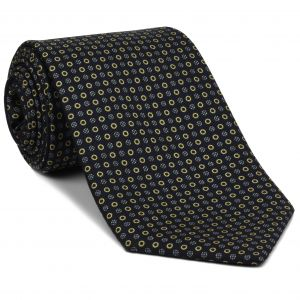 Sky Blue, Off-White & Soft Gold on Midnight Blue Macclesfield Print Silk Tie #MCT-427