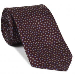 Sky Blue & Cream on Burgundy Macclesfield Print Silk Tie #MCT-428