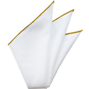 Natural White Linen/Cotton with Tangerine Contrast Edges Pocket Square #LCCP-10