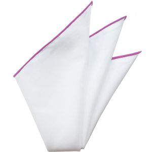 Natural White Linen/Cotton with Fuchsia Contrast Edges Pocket Square #LCCP-11