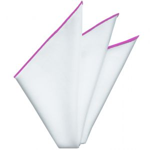 Bright White Oxford Cotton with Fuchsia Contrast Edges Pocket Square #RCP-11