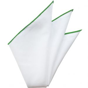 Natural White Linen/Cotton with Lime Contrast Edges Pocket Square #LCCP-13